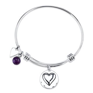 Shine Stainless Steel Quartz Expandable 'Grandma You Are Always Loved' Bangle