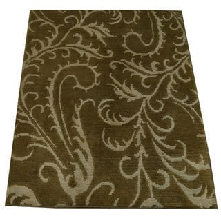 Hand-knotted Modern Nepali Oriental Wool and Silk Rug (2' x 3')