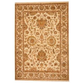 Herat Oriental Indo Hand-knotted Mahal Ivory/ Beige Wool Area Rug (6'3 x 9')
