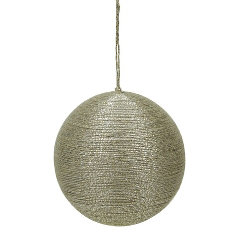 "3.5"" Modern Rustic Style Metallic Tan Jute Wrapped Christmas Ball Ornament (90mm)"
