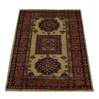 Hand-knotted Super Kazakh Tribal Design Wool Rug (2' x 3')