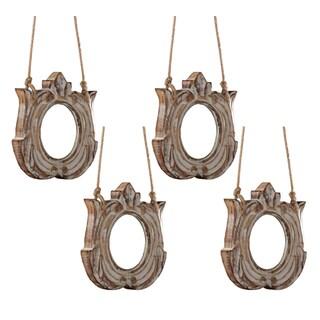 Sage & Co 7.5-inch Carved Wood Emblem Ornament (Pack of 4)