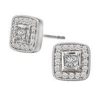 Avanti 14k White Gold 1/2ct TDW Square Halo Diamond Earrings