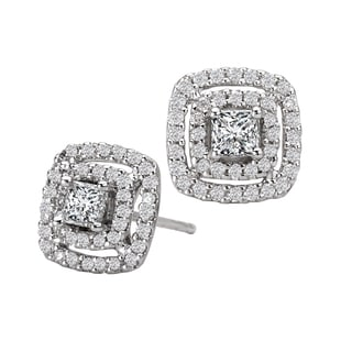 Avanti 14k White Gold 3/4ct TDW Double Square Halo Princess Diamond Earrings
