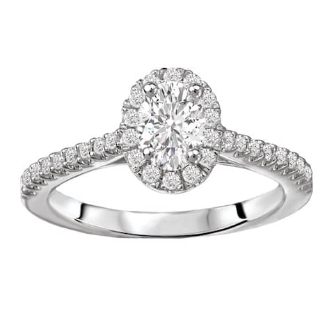 Avanti 14k White Gold 5/8ct TDW Oval Diamond Halo Diamond Ring (G-H, SI1-SI2)