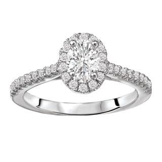 Avanti 14k White Gold 5/8ct TDW Oval Diamond Halo Diamond Ring (G-H, SI1-SI2)