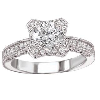 Avanti 14k White Gold 1/2ct TDW Curved Diamond Engagement Ring (G-H, SI1-SI2)