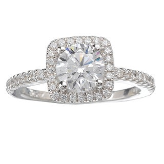 Avanti 14k White Gold 3/4ct TDW Cushion Shaped Halo Diamond Ring