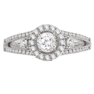 Avanti 14k White Gold 1/2ct TDW Round Diamond Halo Engagement Ring (More options available)