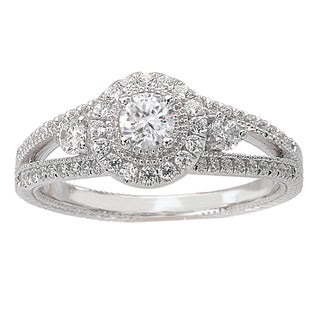 Avanti 14k White Gold 1/2ct TDW Round Diamond Halo Engagement Ring