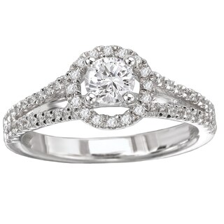 Avanti 14k White Gold 5/9ct TDW Round Diamond Cathedral Engagement Ring (More options available)