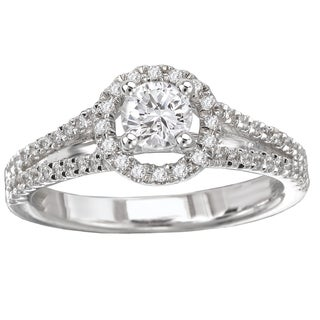 Avanti 14k White Gold 5/9ct TDW Round Diamond Cathedral Engagement Ring