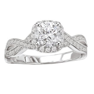 Avanti 14k White Gold 5/8ct TDW Diamond Cushion Shaped Engagement Ring (More options available)