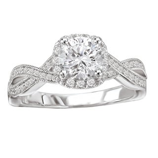 Avanti 14k White Gold 5/8ct TDW Diamond Cushion Shaped Engagement Ring