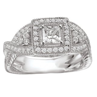 Avanti 14k White Gold 7/8ct TDW Princess-cut Diamond Engagement Ring (G-H, SI1-SI2)