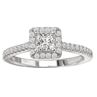 Avanti 14k White Gold 5/8ct TDW Diamond Square Halo Engagement Ring (G-H, SI1-SI2)