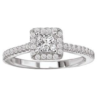 Avanti 14k White Gold 5/8ct TDW Diamond Square Halo Engagement Ring