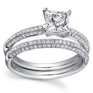 18k White Gold 1 7/8ct TDW Certified Princess Cut Diamond Bridal Ring Set (H-I, SI3)