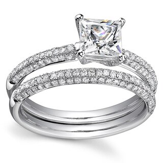 18k White Gold 1 7/8ct TDW Certified Princess Cut Diamond Bridal Ring Set