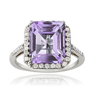Glitzy Rocks Sterling Silver 1/4ct TDW Diamond Amethyst Cocktail Ring