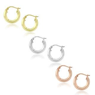 Mondevio Silver and 18k Goldplated Hoop Earrings (Set of 3)