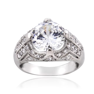 ICZ Stonez Sterling Silver 7 1/2ct TGW Cubic Zirconia Ring