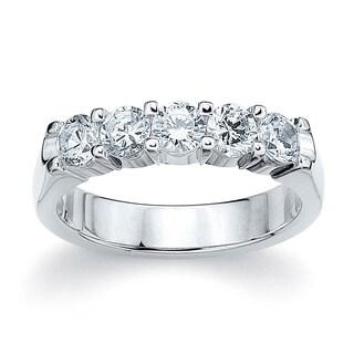 Amore Platinum 1ct TDW Five Stone Round Diamond Wedding Band (G-H, SI1-SI2)