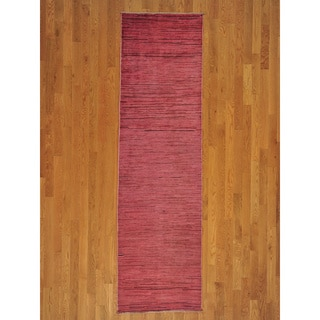 Hand-knotted Wool Over-dyed Peshawar Gabbeh Rug (3' x 9')