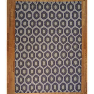 Hand-woven Durie Kilim Flat Weave Hand Woven Reversible Wool Rug (9' x 12')