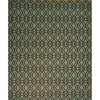 Hand-woven Hand Woven Wool Durie Kilim Reversible Rug (9' x 10')