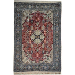 Hand-knotted Signed Persian Nain Wool and Silk Rug (7' x 11')