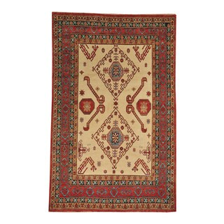 Hand-knotted Ivory Kazak Wool Oriental Rug (6' x 10')