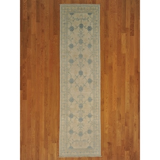 Hand-knotted Washed Out Khotan Wool Runner Rug (3' x 10')