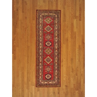 Hand-knotted Tribal Design Super Kazak Runner Rug (3' x 8')