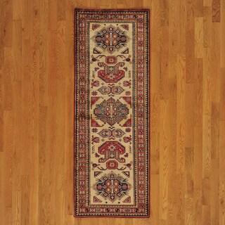 Wool Ivory High Quality Kazak Runner Rug (2' x 7')