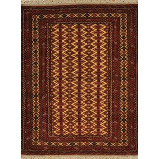 Hand-knotted Afghan Turkoman Oriental Wool Rug (4' x 5')