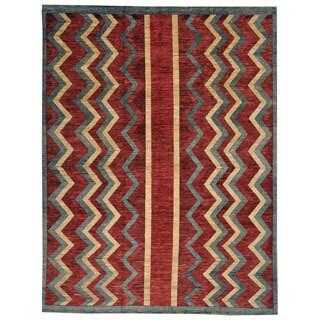 Hand-knotted Geometric Design Peshawar Gabbeh Oriental Rug (8' x 10')