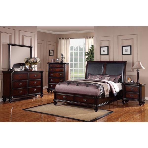 Shop Bastia Two-tone Dark Birch Veneer Queen Size Bedroom
