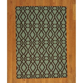 Hand-woven Hand Woven Light Green Wool Durie Kilim Reversible Rug (4' x 6')