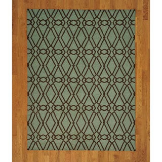 Hand-woven Hand Woven Light Green Wool Durie Kilim Rug (5' x 7')