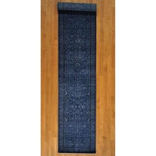 Wool and Silk Kashan 250 KPSI Over-dyed Rug (3' x 14')