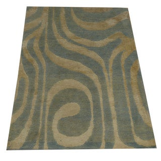 Hand-knotted Wool and Silk Sky Blue Modern Nepali Rug (2' x 3')