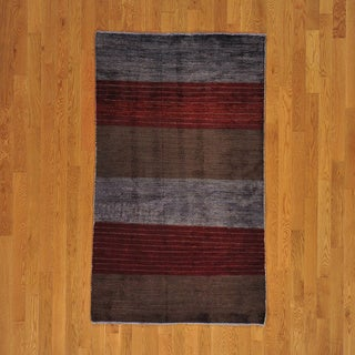 Hand-knotted Striped Wool Over-dyed Modern Rug (4' x 6')