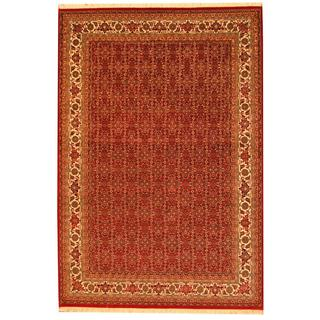 Herat Oriental Indo Hand-knotted Persian Bidjar Design Red/ Ivory Wool Rug (5'7 x 8'2)