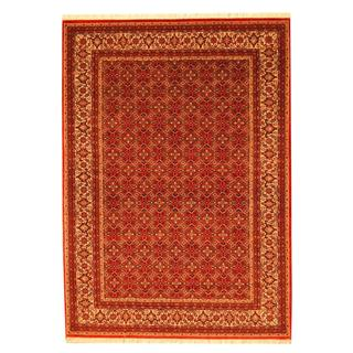 Herat Oriental Indo Hand-knotted Persian Bidjar Design Red/ Ivory Wool Rug (5'8 x 8')