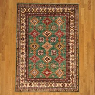 Hand-knotted Geometric Design High Quality Kazakh Oriental Rug (5' x 7')