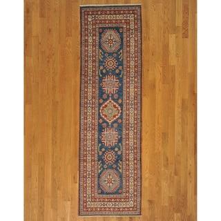 Hand-knotted Denim Blue Kazakh Oriental Runner Rug (3' x 9')
