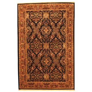 Herat Oriental Indo Hand-knotted Sarouk Black/ Red Wool Rug (6' x 9')