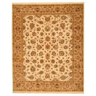 Herat Oriental Indo Hand-knotted Mahal Ivory/ Beige Wool Rug (6'7 x 8'2)