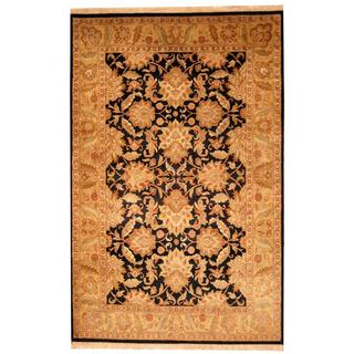 Herat Oriental Indo Hand-knotted Mahal Black/ Beige Wool Rug (6' x 9'5)